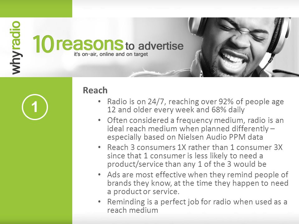 Reach Radio is on 24/7, reaching over 92% of people age 12 and older every week and 68% daily.