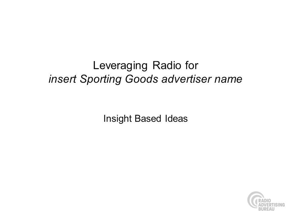 Leveraging Radio for insert Sporting Goods advertiser name Insight Based Ideas