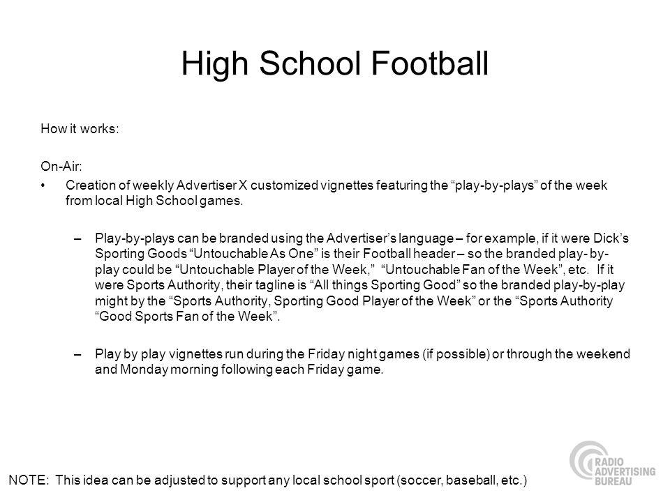 High School Football How it works: On-Air: