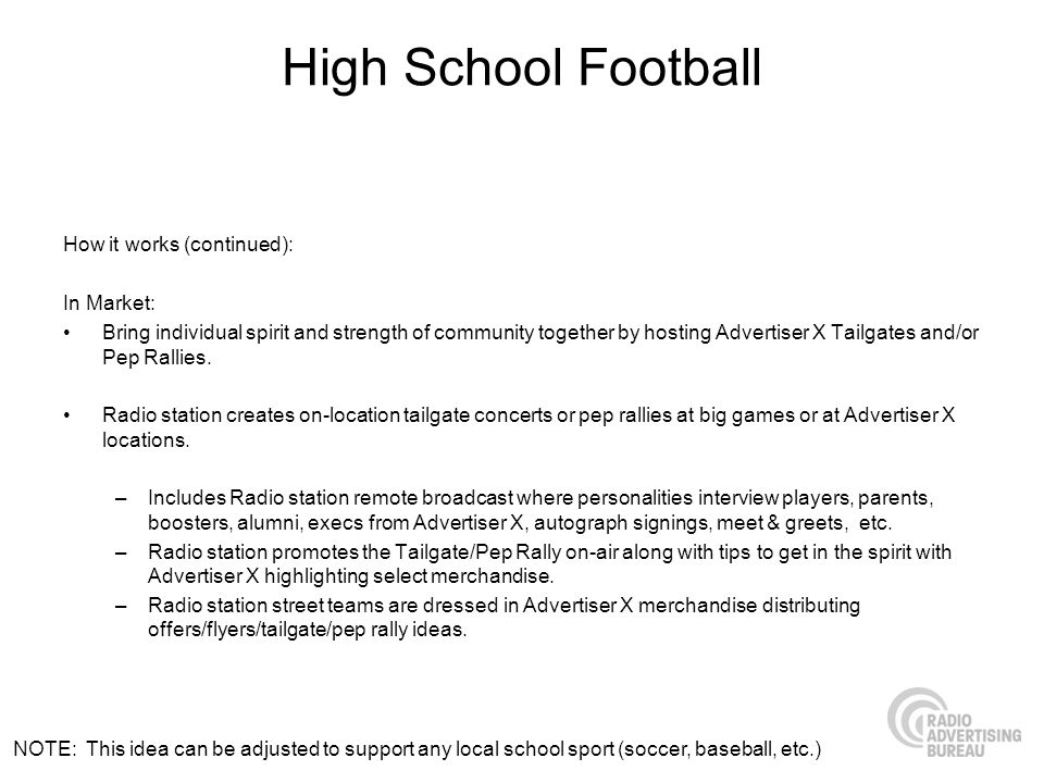 High School Football How it works (continued): In Market: