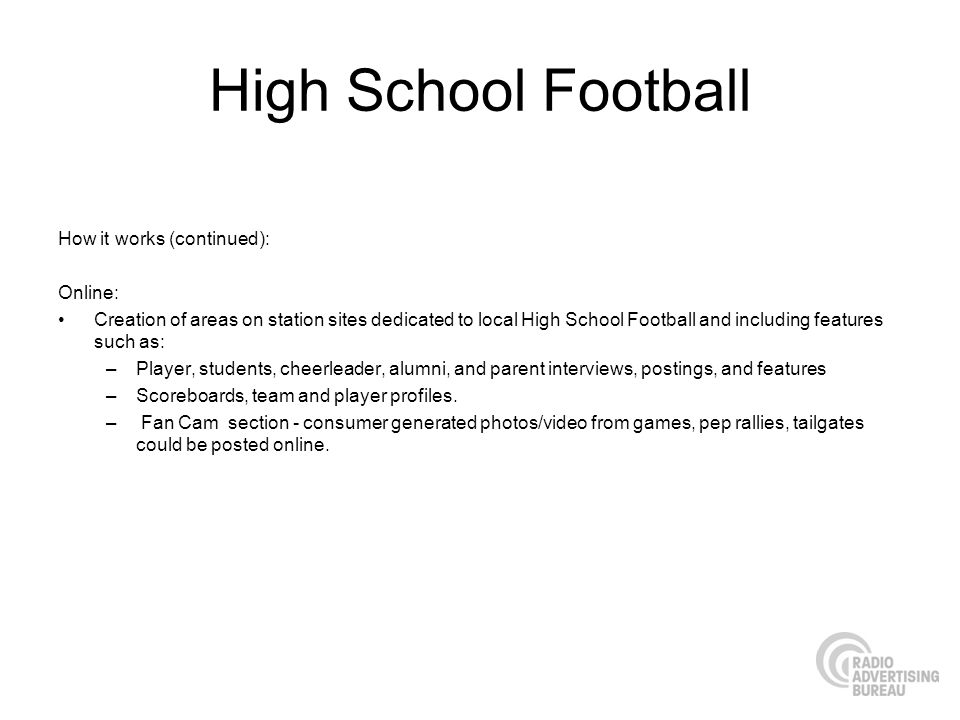 High School Football How it works (continued): Online: