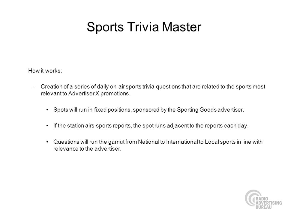Sports Trivia Master How it works: