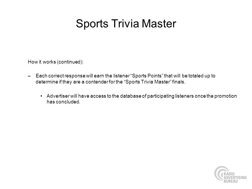 Sports Trivia Master How it works (continued):