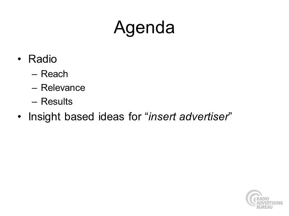 Agenda Radio Insight based ideas for insert advertiser Reach