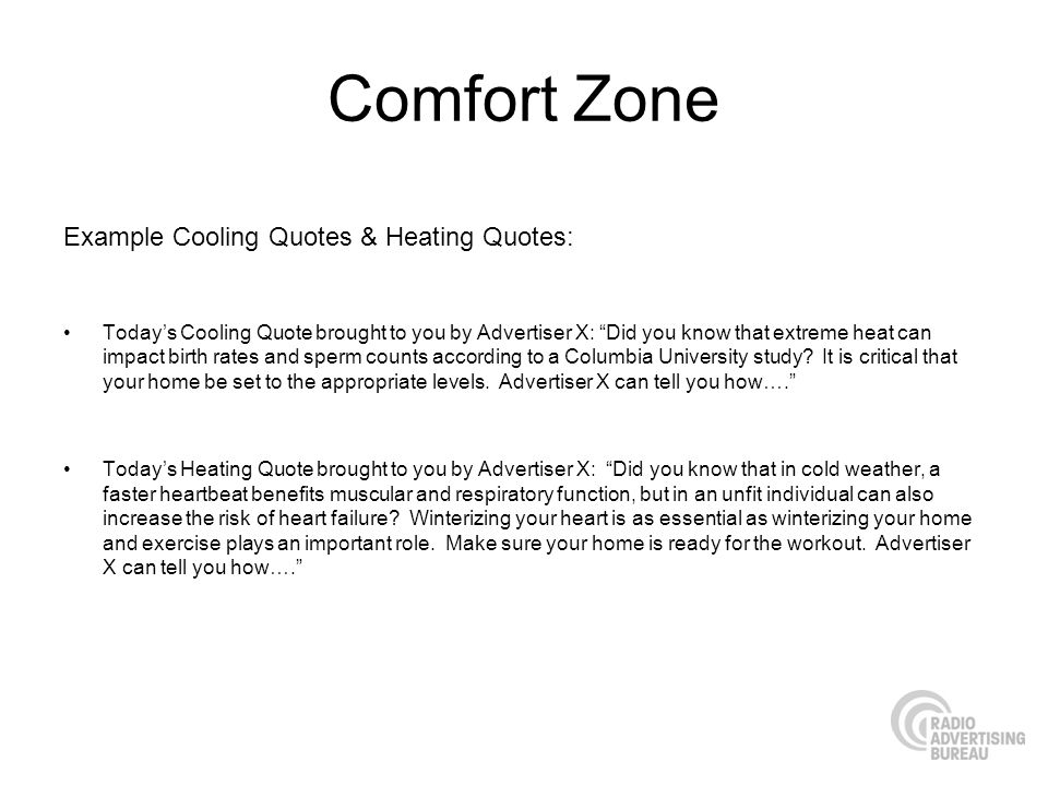 Comfort Zone Example Cooling Quotes & Heating Quotes: