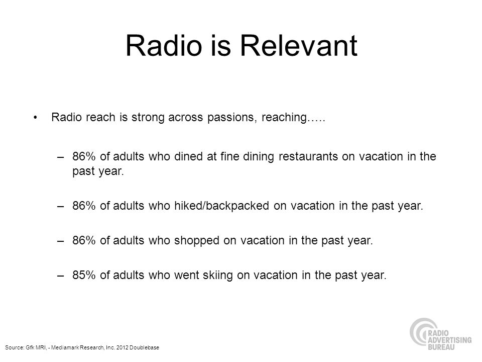 Radio is Relevant Radio reach is strong across passions, reaching…..