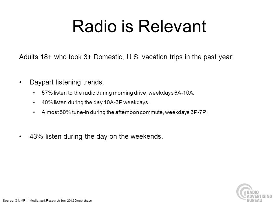 Radio is Relevant Adults 18+ who took 3+ Domestic, U.S. vacation trips in the past year: Daypart listening trends: