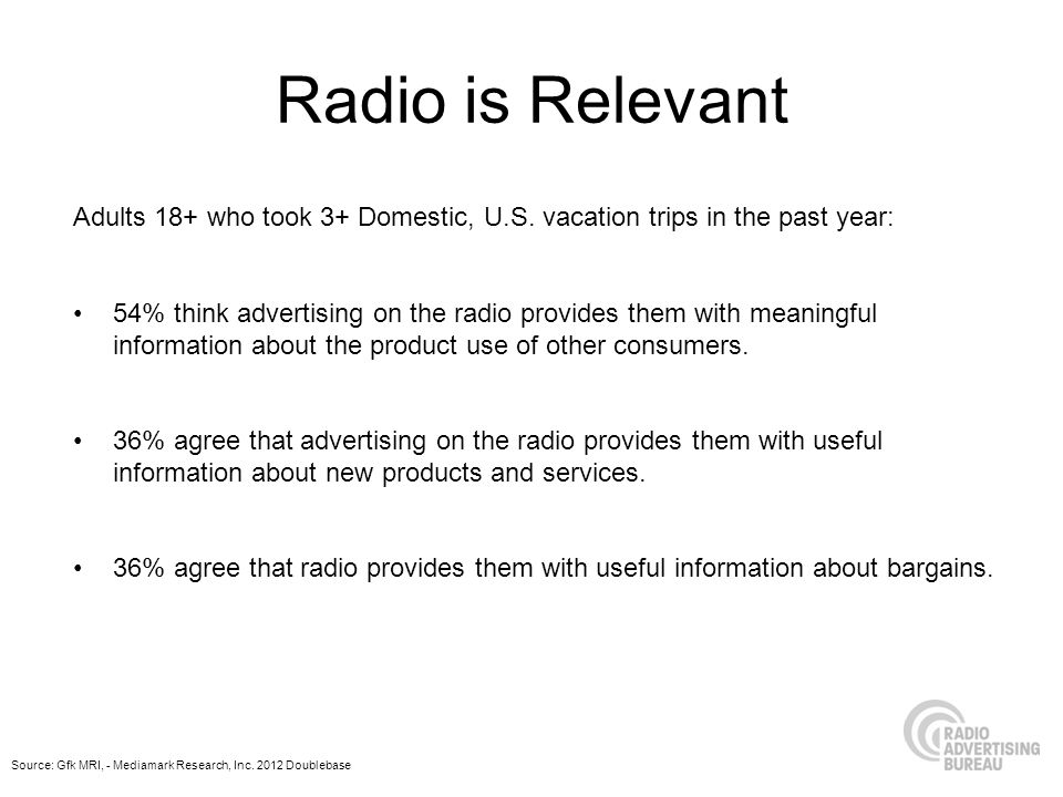 Radio is Relevant Adults 18+ who took 3+ Domestic, U.S. vacation trips in the past year: