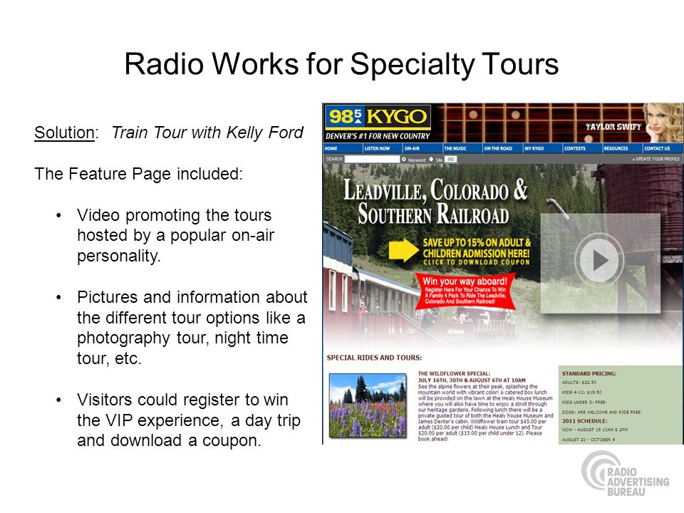 Radio Works for Specialty Tours