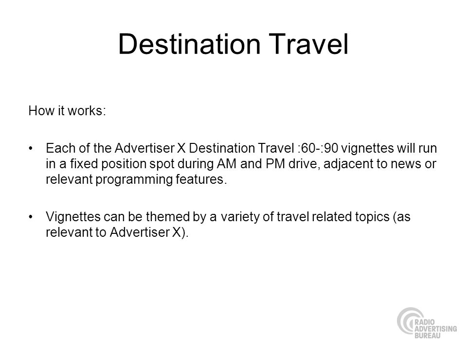 Destination Travel How it works: