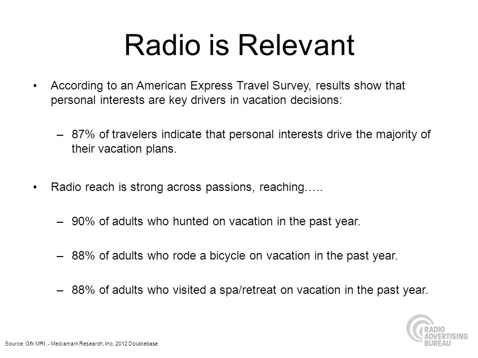 Radio is Relevant According to an American Express Travel Survey, results show that personal interests are key drivers in vacation decisions: