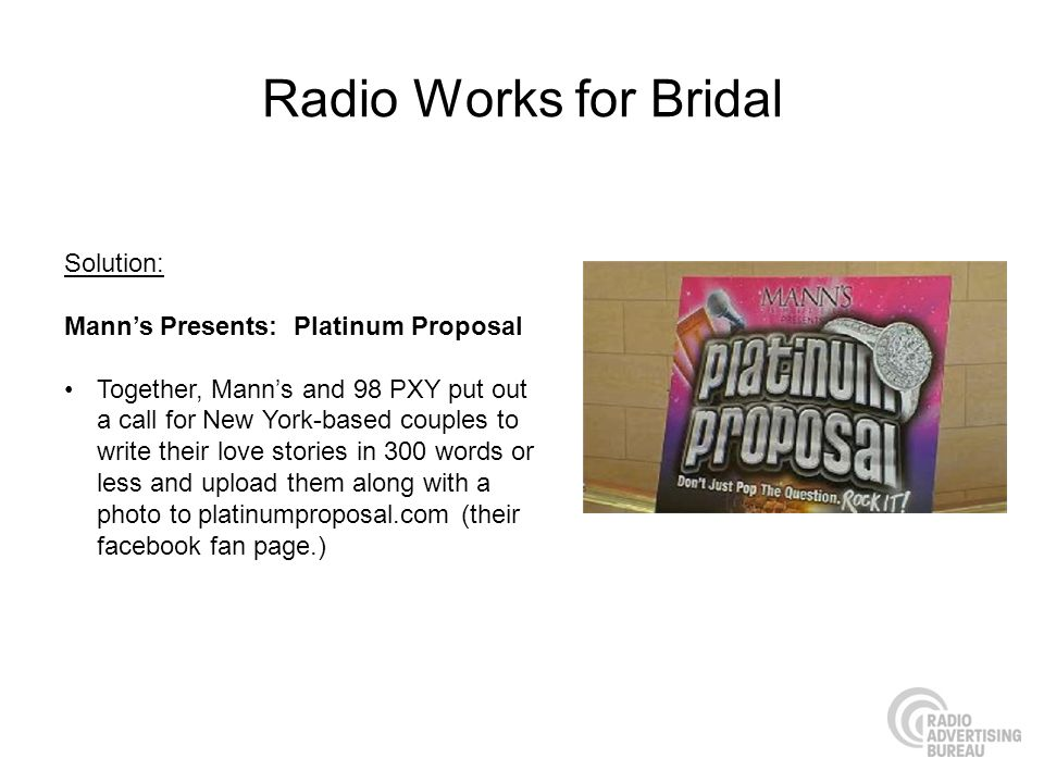 Radio Works for Bridal Solution: Mann's Presents: Platinum Proposal