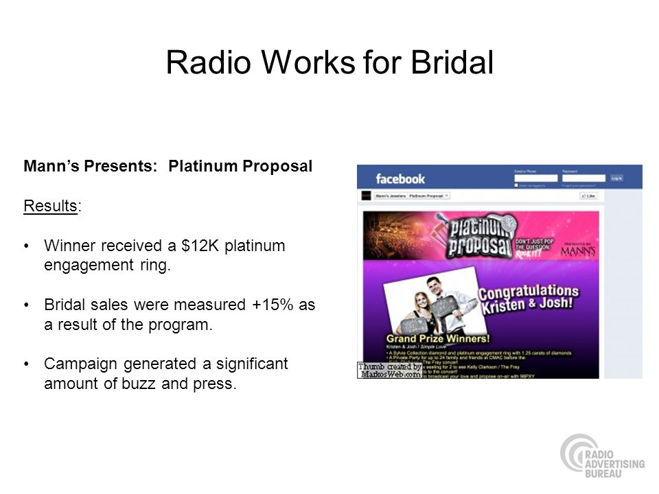 Radio Works for Bridal Mann's Presents: Platinum Proposal Results: