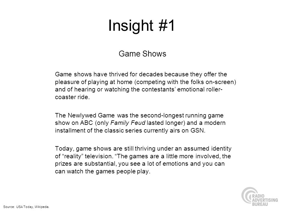 Insight #1 Game Shows.