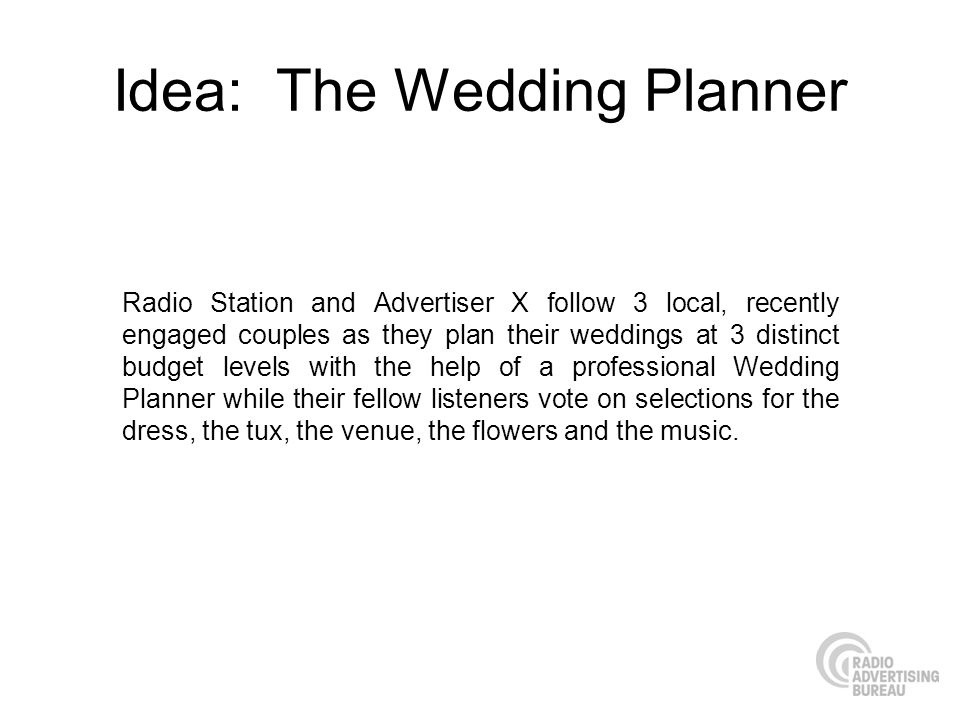 Idea: The Wedding Planner