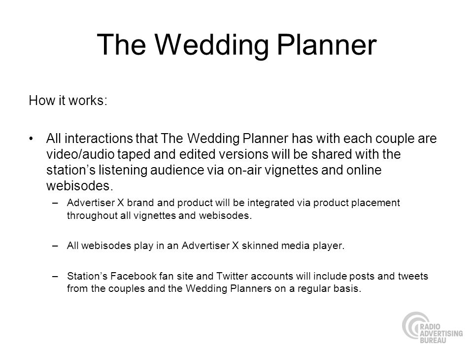 The Wedding Planner How it works: