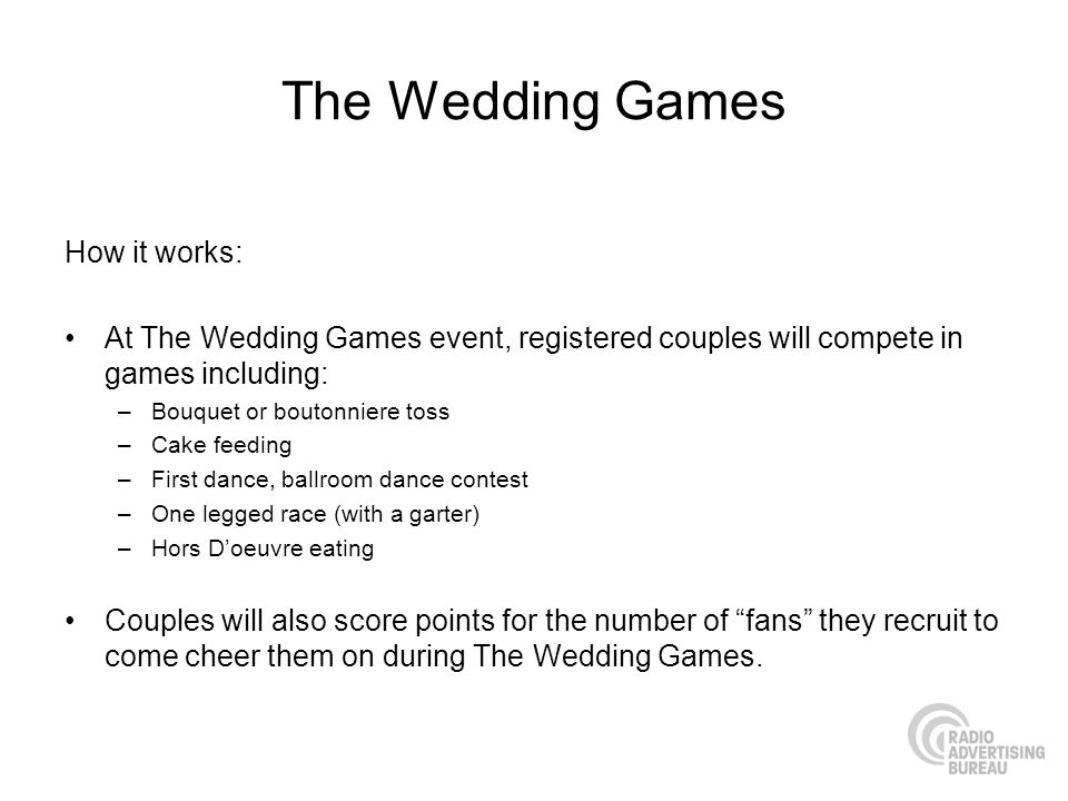 The Wedding Games How it works:
