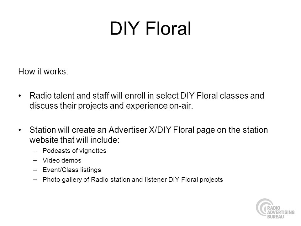 DIY Floral How it works: