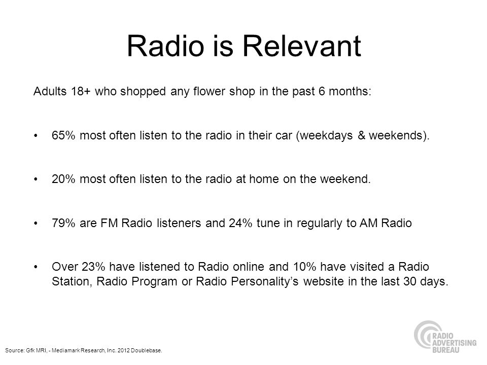 Radio is Relevant Adults 18+ who shopped any flower shop in the past 6 months: