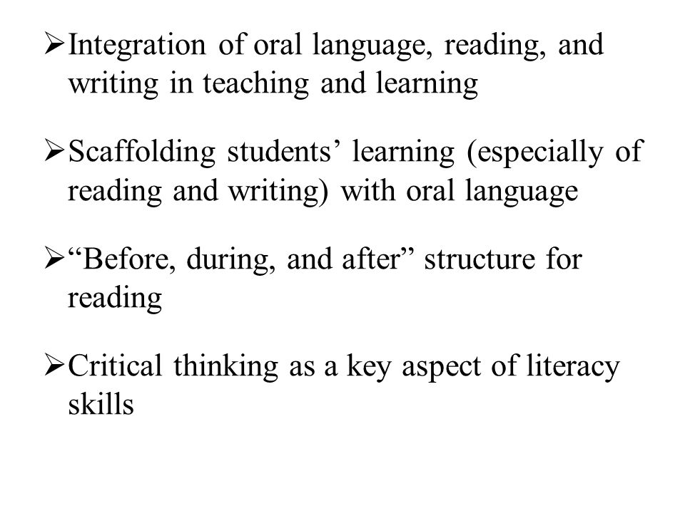 Integration of oral language, reading, and writing in teaching and learning