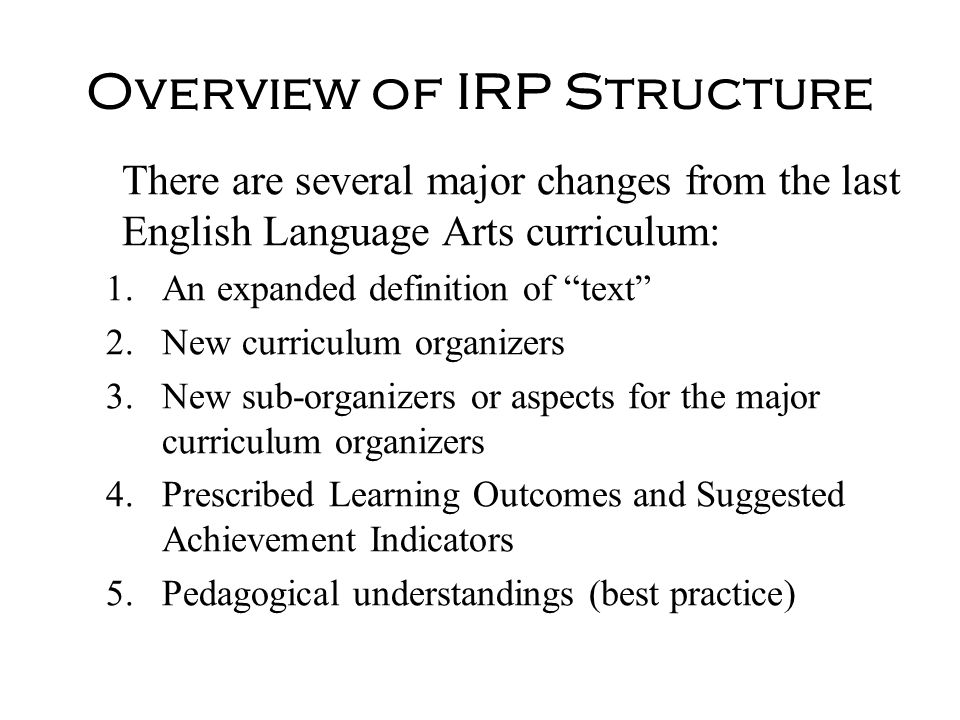 Overview of IRP Structure