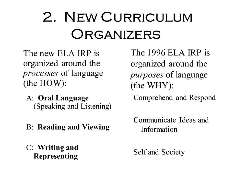 2. New Curriculum Organizers