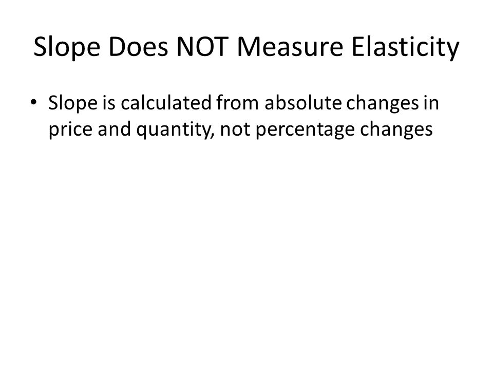 Slope Does NOT Measure Elasticity