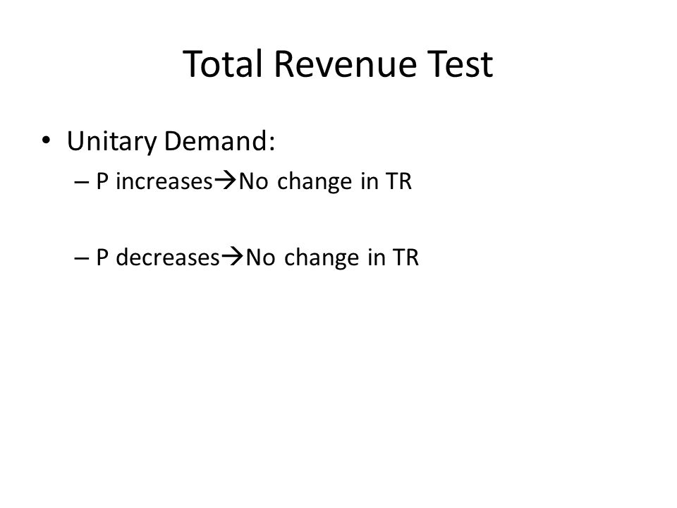 Total Revenue Test Unitary Demand: P increasesNo change in TR