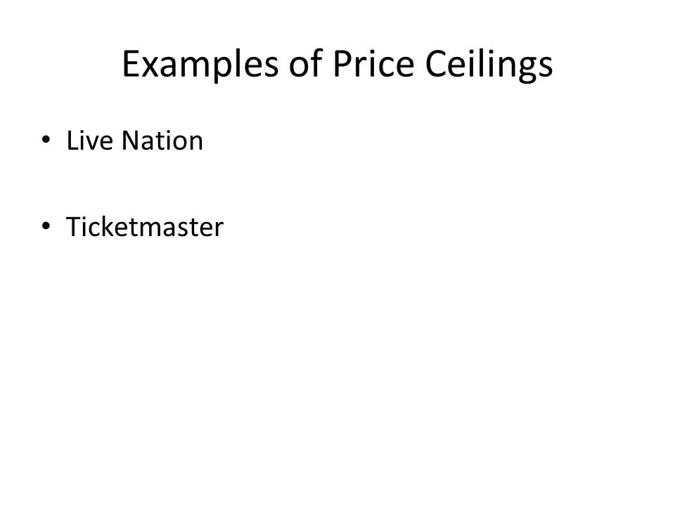 Examples of Price Ceilings