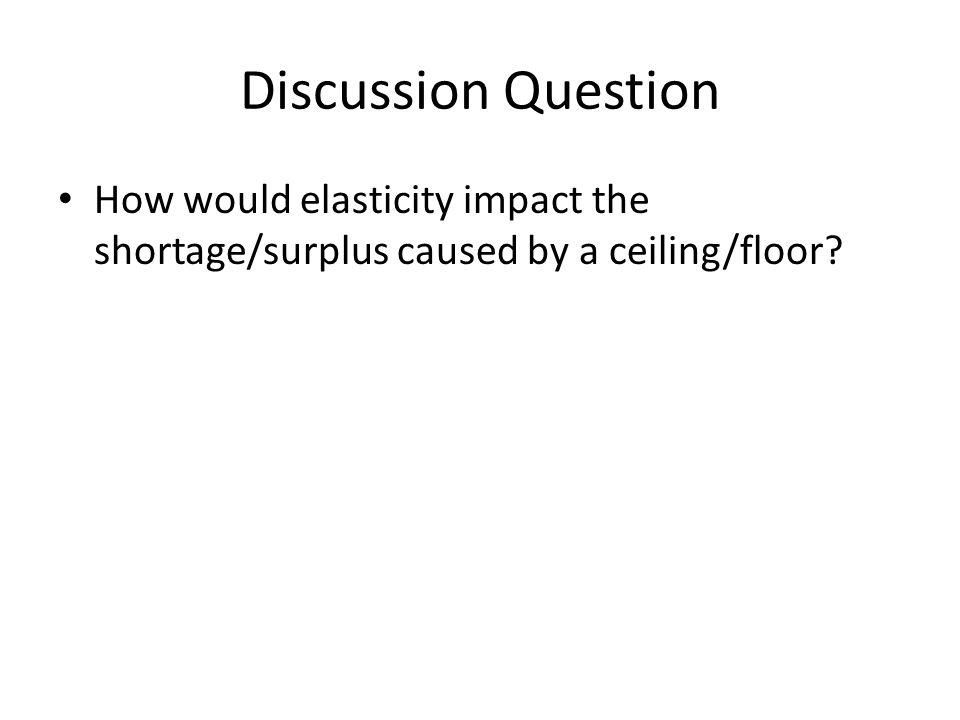 Discussion Question How would elasticity impact the shortage/surplus caused by a ceiling/floor