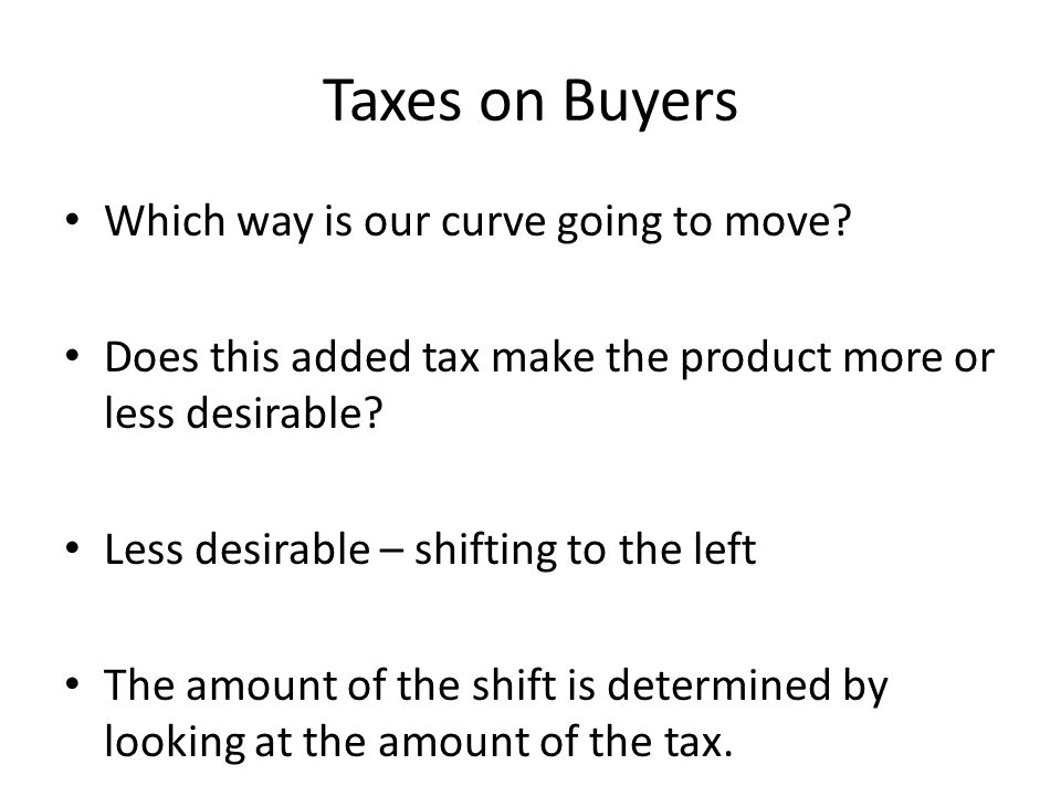 Taxes on Buyers Which way is our curve going to move