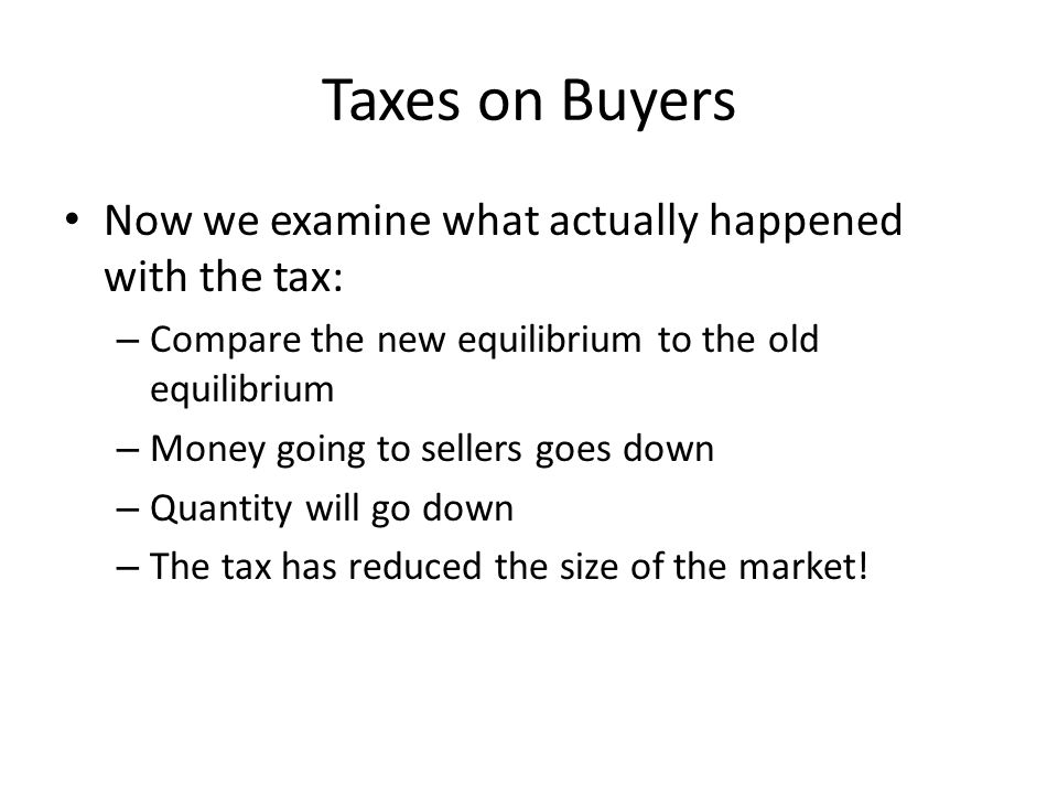 Taxes on Buyers Now we examine what actually happened with the tax:
