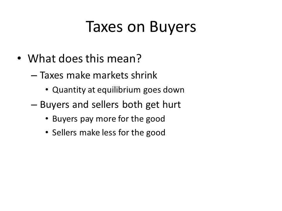 Taxes on Buyers What does this mean Taxes make markets shrink