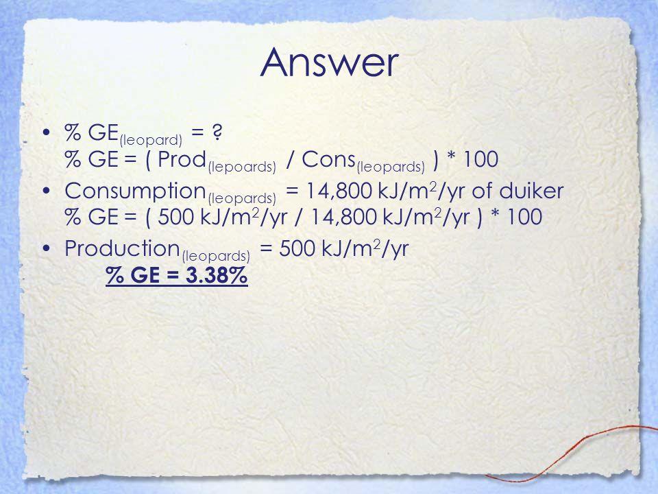 Answer % GE(leopard) = % GE = ( Prod(lepoards) / Cons(leopards) ) * 100.
