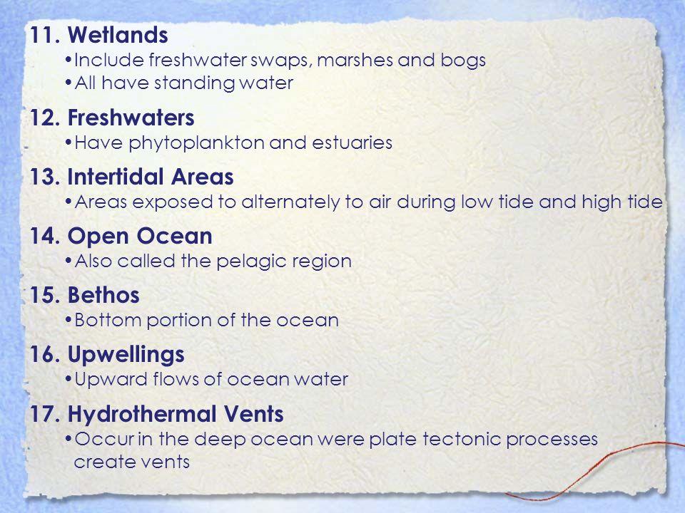 11. Wetlands 12. Freshwaters 13. Intertidal Areas 14. Open Ocean