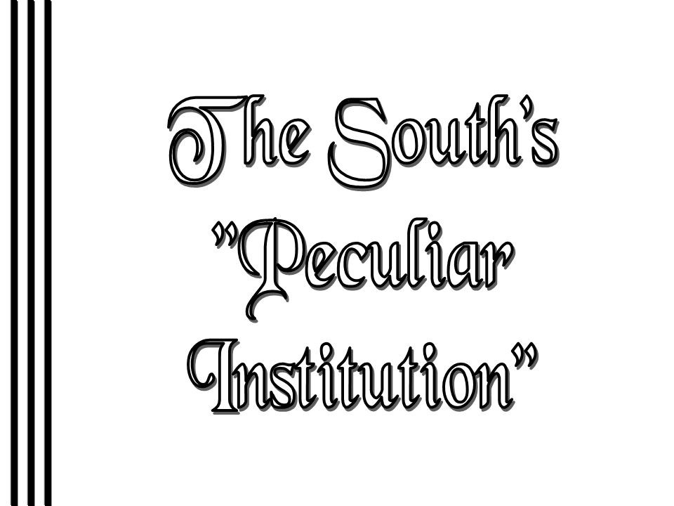 The South s Peculiar Institution