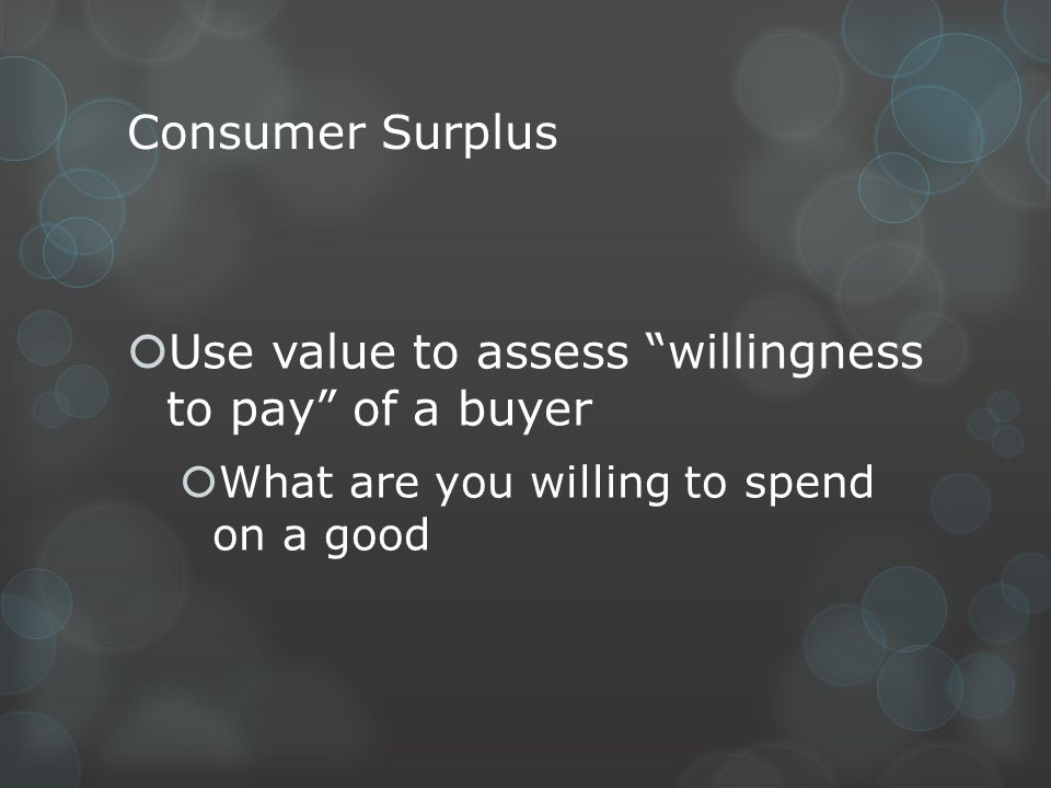 Use value to assess willingness to pay of a buyer