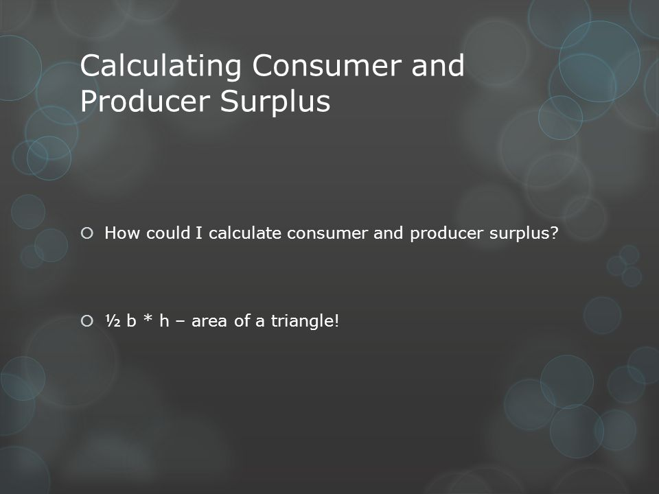 Calculating Consumer and Producer Surplus