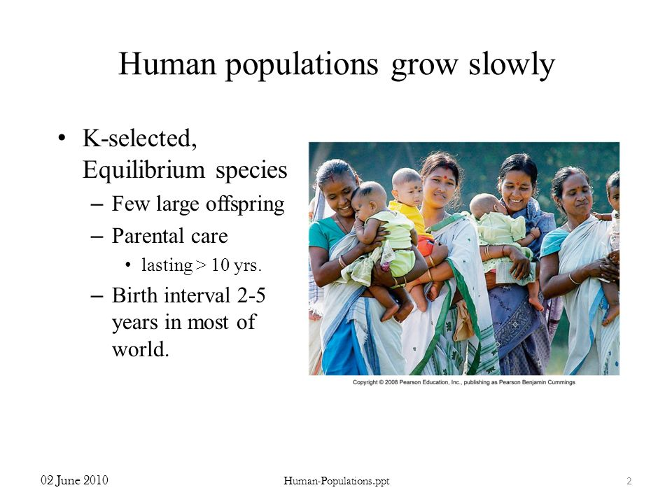Human populations grow slowly