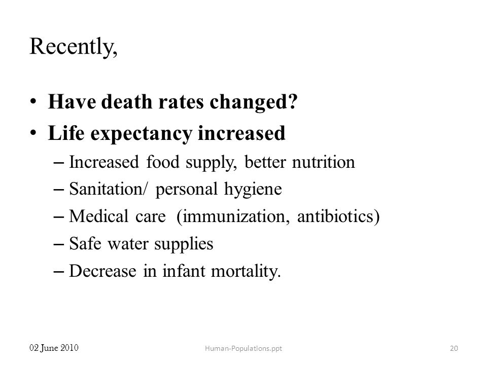 Recently, Have death rates changed Life expectancy increased