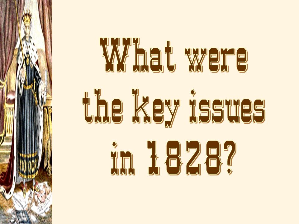 What were the key issues in 1828
