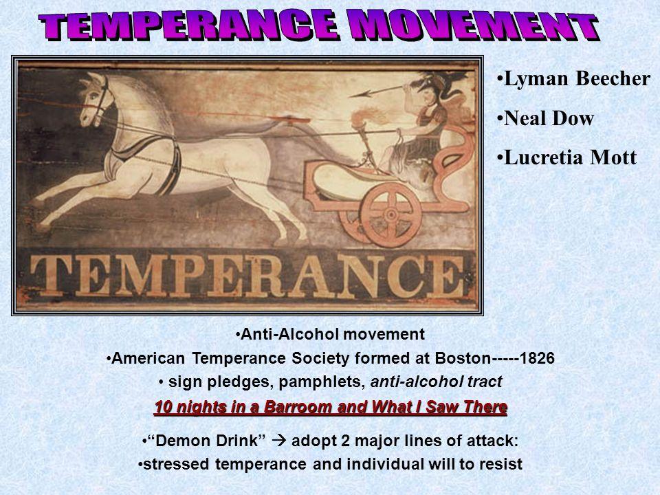 TEMPERANCE MOVEMENT Lyman Beecher Neal Dow Lucretia Mott