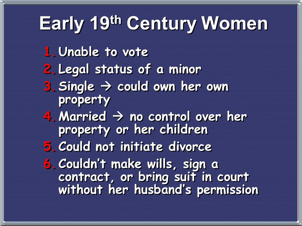 Early 19th Century Women Unable to vote Legal status of a minor