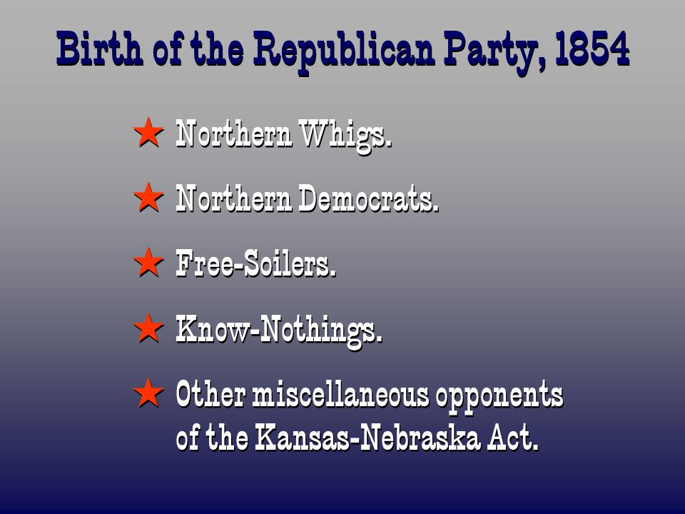 Birth of the Republican Party, 1854