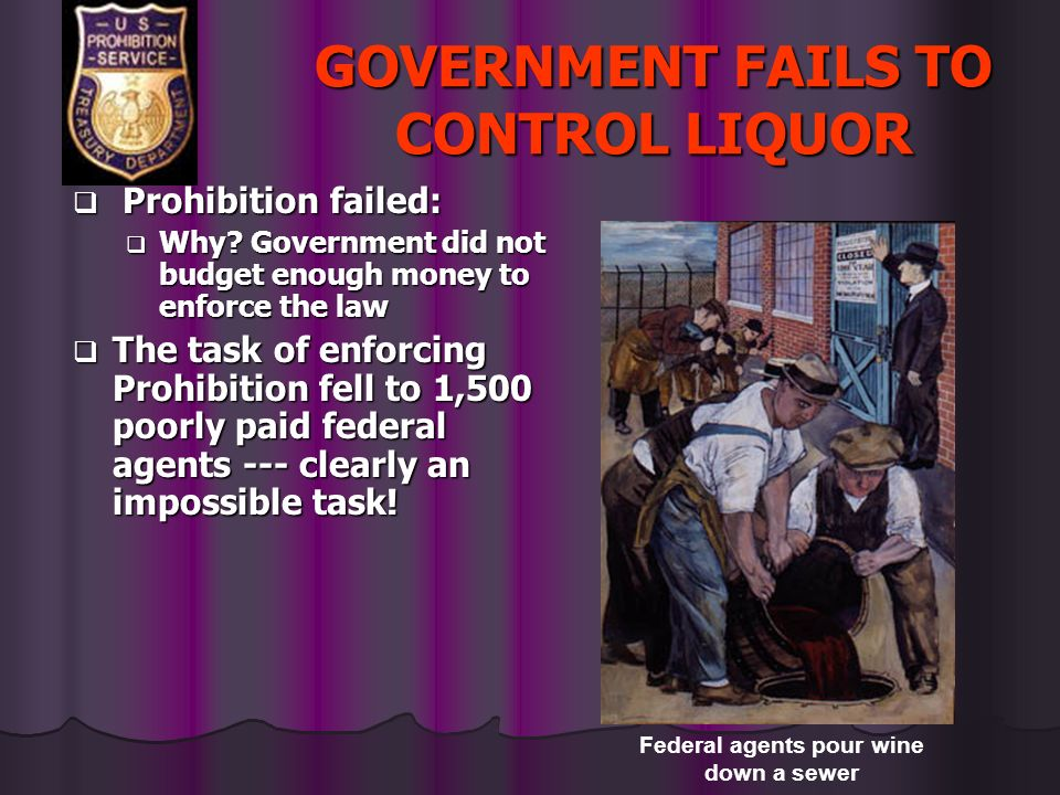 GOVERNMENT FAILS TO CONTROL LIQUOR