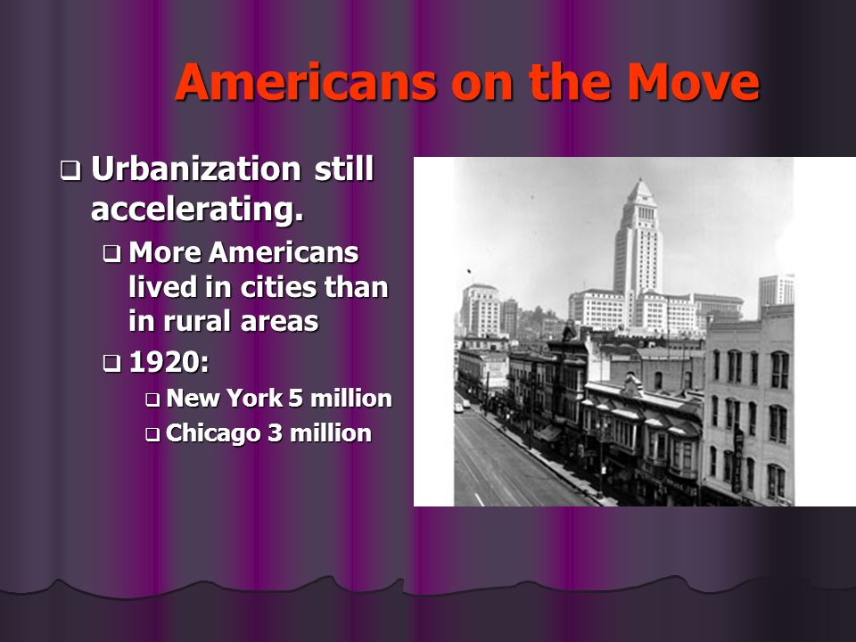 Americans on the Move Urbanization still accelerating.