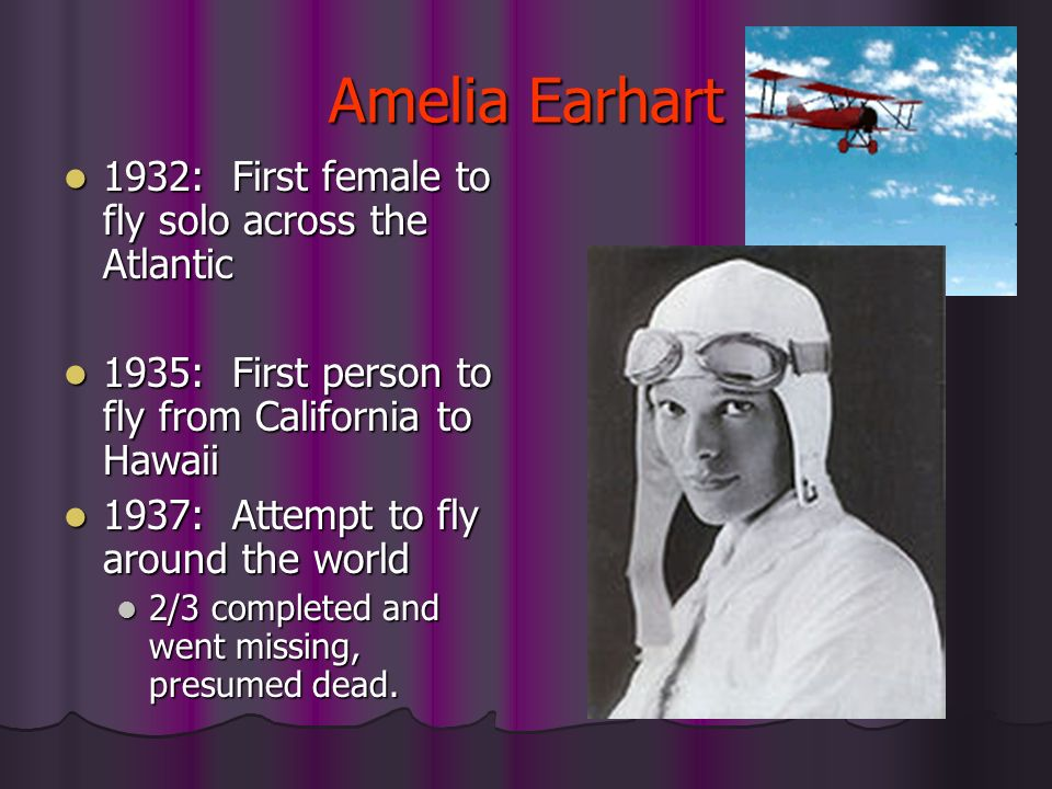 Amelia Earhart 1932: First female to fly solo across the Atlantic
