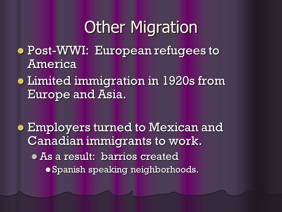 Other Migration Post-WWI: European refugees to America