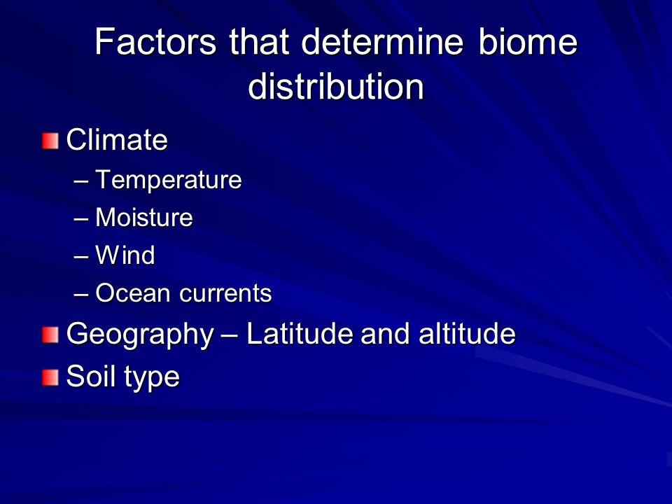 Factors that determine biome distribution