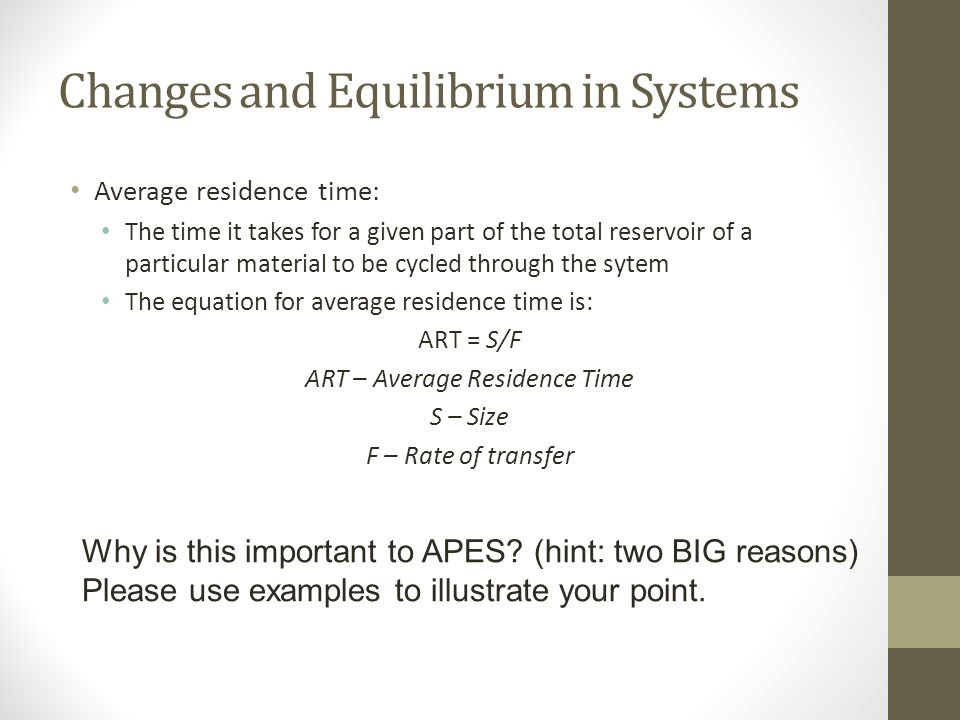 Changes and Equilibrium in Systems